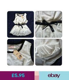 Tops & Shirts Ladies Womens White Chiffon Sleeveless Tunic Blouse Black Ribbon Tie Belt Lined #ebay #Fashion