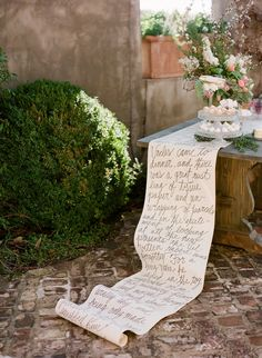 Hand written table runner