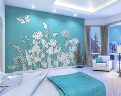 Teal Garden Wallpaper Mural   ohpopsi Asian Paint Design, Paint Designs, Bedroom Wallpaper Murals, Wall Murals, Spring Wallpaper, Photo Wallpaper, Blue Feature Wall, Asian Paints, Garden Party Decorations