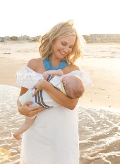 Charleston and Isle of Palms, South Carolina.  Beautiful mother and newborn son beach portrait.  What to wear for a beach photography session!
