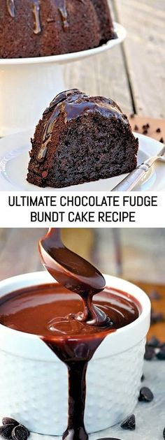 Ultimate Chocolate Fudge Bundt Cake - This amazing chocolate cake starts with a cake mix and couldn't be easier or more decadent. Homemade Fudge, Homemade Cake Recipes, Homemade Chocolate, Baking Recipes, Bunt Cakes, Cupcake Cakes, Cupcakes, Chocolate Bundt Cake, Fudge Sauce