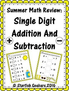 A fun and quick review of addition and subtraction perfect for just before summer break! Color and b/w versions