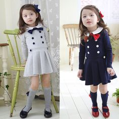 Double breasted Girl Long sleeve Dress $14