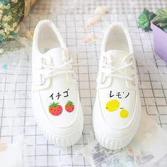 Source by wolfitywolf shoes Kawaii Shoes, Kawaii Clothes, Buy Shoes, Me Too Shoes, Vans Shoes, Kawaii Fruit, Painted Canvas Shoes, Diy Vetement, Kawaii Accessories