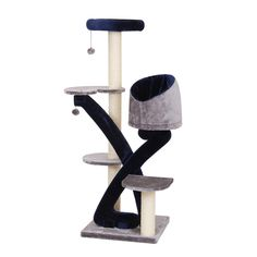 Huggy Blue And Grey Five Level Cat Tree With Sisal Mat