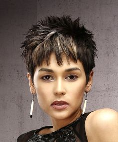 View and try on this Short Straight Casual Pixie Hairstyle - Dark Brunette Hair Color. View yourself with this Dark Brunette Pixie Cut with Razor Cut Bangs and Blonde Highlights Short Spiky Hairstyles, Edgy Haircuts, Short Pixie Haircuts, Bob Hairstyles, Hairstyle Short, School Hairstyles, Virtual Hairstyles, Straight Haircuts, Anime Hairstyles