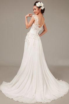 A-line Scoop Neck Sleeveless Sequined Chiffon Court Train Wedding Dress