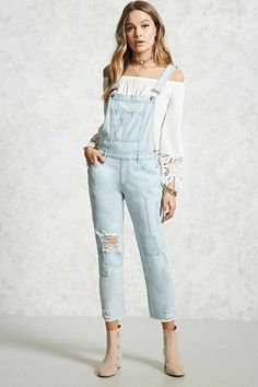 Product Name:Distressed Denim Patch Overalls, Category:dress, Price:34.9