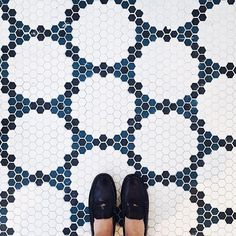 white black and blue penny tile floor/hexagon