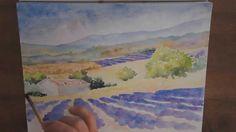 Démo aquarelle : un champ de lavandes