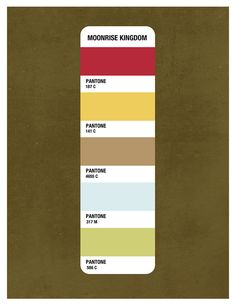 Moonrise Kingdom Color Palette. This made me realized that most of the colors in my tiny house are on this palette!