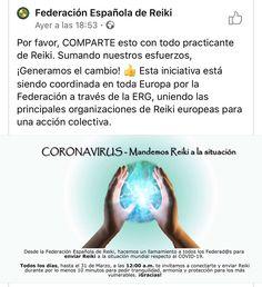 En nombre de la Federación Española de Reiki, a la cual pertenecemos, te invito a que te unas, si estas iniciado en Reiki, con el protocolo correspondiente, sino es así,  y quieres apoyarnos, simplemente únete en un momento de atención plena con la intención de pedir tranquilidad, armonía y protección para los más vulnerables. Gracias , gracias , Gracias 🙏🙏🙏 #coronavirus #coronavírus #coronavirusespaña #coronavirüs #coronavirusitalianews #coronavirusitaly #alertaespañacoronavirus…