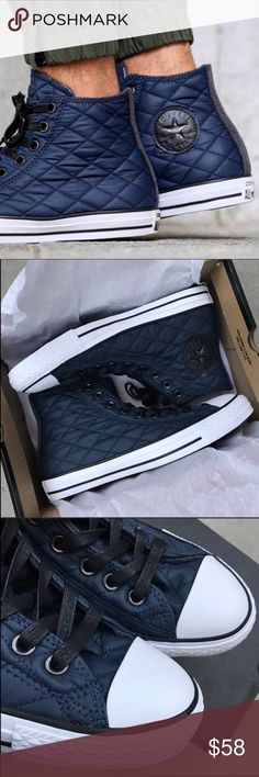 NEW ☃️ CHUCK TAYLOR CONVERSE ALLSTAR SZ 7 MEN COZY TREATS FOR YOUR FEETS ☃️ NEW WITH BOX CONVERSE CHUCK TAYLOR CONVERSE ALL STAR. NEW NEVER WORN. Unisex shoe. This is men's size 7 | women's size 9 Take your chucks game to a whole new level with these. QUILTED NAVY NYLON WITH GREY FLEECE DETAILS. Ships same or next day in FULL original converse box. Smoke free home. PERFECT FOR GIFT GIVING Bundle items to save. Shop with posh and don't pay the sales tax! 100% AUTHENTIC AND DIRECT FROM CON