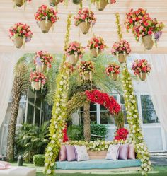 Looking for Mehendi decor idea with hanging pots? Browse of latest bridal photos, lehenga & jewelry designs, decor ideas, etc. on WedMeGood Gallery. Wedding Entrance, Entrance Decor, Wedding Stage, Desi Wedding, Wedding Events, Indian Wedding Planning, Wedding Planning Websites, Indian Wedding Decorations, Flower Decorations