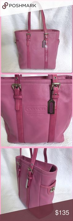 "Pink Leather Coach Gallery Tote Bag Dusty rose pink bag with silver hardware and zip closure. Lock pockets on each end. Patent leather straps with a drop of approximately 8"" on middle setting. Interior has pink signature sateen fabric with 3 pockets (1 zips). Excellent used condition!! Coach Bags Totes"