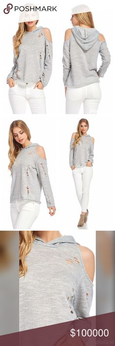 AVAILABLE Terry distressed cold shoulder hoodie Adorable in Heather Gray - distressed soft French Terry cold shoulder hoodie! We ❤️ Tops