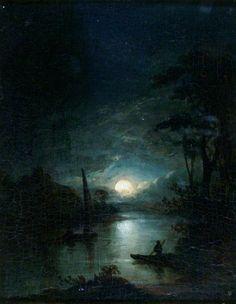 ✨ Elias Childe, British - Moonlight: A Composition, Oil on panel. Fantasy Art Landscapes, Landscape Art, Landscape Paintings, Moonlight Painting, Beautiful Moon, Art Uk, Art Graphique, Moon Art, Amazing Art