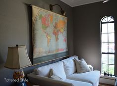 Brilliant!!! Amazing!!! Old pull down map with antique desk lamp... a must for somewhere.