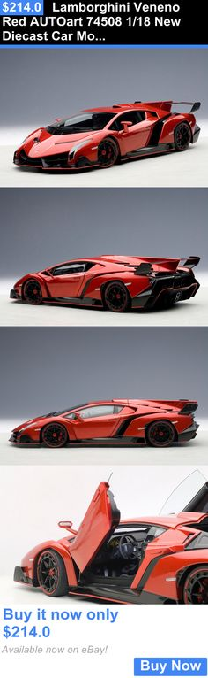 Toys And Games: Lamborghini Veneno Red Autoart 74508 1/18 New Diecast Car Model BUY IT NOW ONLY: $214.0
