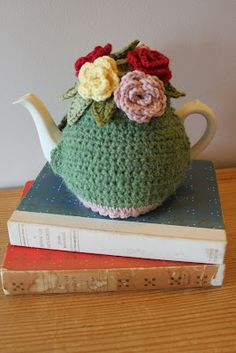 Tea at Weasel's, crochet tea cosy....