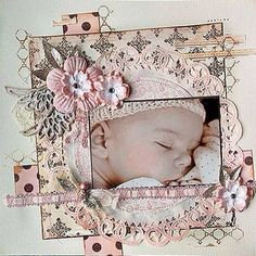 Carte scrapbooking enfant Rose pastel Naissance fille