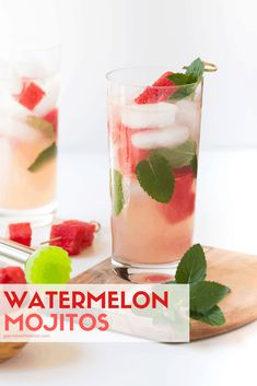 Beat the heat with this refreshing Watermelon Mojito recipe! #mojitos #rum #watermelon #cocktails
