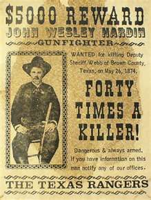 John Wesley Hardin Wanted Poster. The Baddest of them ALL - John Wesley Hardin (1853-1895) was a outlaw & gunfighter. He is believed to have killed a total of 44 men. He was shot to death in 1895 by John Selman Sr. in the Acme Saloon in El Paso, TX. .