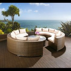 Luxury Large Brown / Cream Round Rattan Sofa & Coffee Table, Raincover