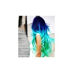 Clip in Hair Extensions // Aqua Blue Ombre // Human Remy Hair... ($24) ❤ liked on Polyvore featuring beauty products, haircare, hair styling tools, hair, hairstyles, hair styles, beauty, cabelos, straight iron and flat iron