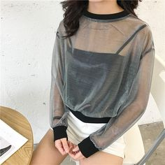 >> Click to Buy << Recommend Patchwork Mesh Transparent T Shirt Women Crop Top Spring Summer Sexy Tee Shirt Femme Chemisier Camiseta Feminina Camis #Affiliate