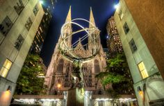 The Cathedral of St. Patrick (commonly called St. Patrick's Cathedral) is a decorated Neo-Gothic-style Roman Catholic cathedral church in the United States. It is the seat of the archbishop of the Roman Catholic Archdiocese of New York, and a parish church, located on the east side of Fifth Avenue between 50th and 51st Streets in midtown Manhattan, New York City, New York, directly across the street from Rockefeller Center and specifically facing the Atlas statue.