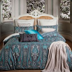 Persia Bed Linen by Kas Paisley Bedding, Blue Bedding, Linen Bedding, Bedding Sets, Bedroom Retreat, Master Bedroom, Bed Linen Australia, Bed Linen Online, Beds For Sale