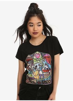 Hot Topic : Disney Beauty And The Beast Stained Glass Girls T-Shirt