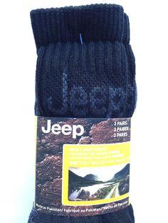 Jeep Mens Signature Boot Socks Three Pair Black Grey Cushioned | eBay