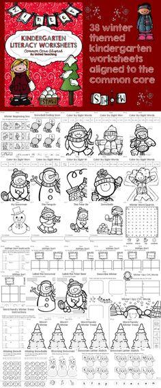 Kindergarten Common Core Aligned Winter Literacy Worksheets