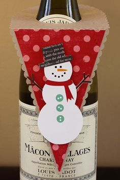 {decorating bottles} scalloped flag tag by Celeste Smith