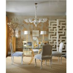 Glamorous Dining -- featuring the Marnie Dining Chair, India Dining Table, Sophia Chandelier, Sanderson Screen, Venetian Series #1 Lamps and deGournay wallpaper.