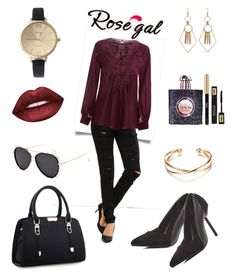 """""""Rosegal - Lace Me Up"""" by syu-mohd ❤ liked on Polyvore featuring Yves Saint Laurent and Lime Crime"""