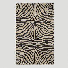 One of my favorite discoveries at WorldMarket.com: Ravella Zebra Indoor-Outdoor Rug, Black