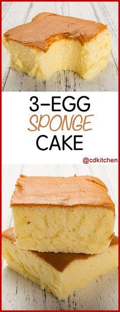 3 Egg Sponge Cake - Recipe is made with milk, baking soda, eggs, flour, cream of tartar, butter, sugar, salt   CDKitchen.com