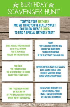 Birthday Scavenger Hunt {with free printables!} Via Love ND Marriage and a baby carriage