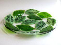 Fused Glass Plate (leaf pattern). $42.00, via Etsy.
