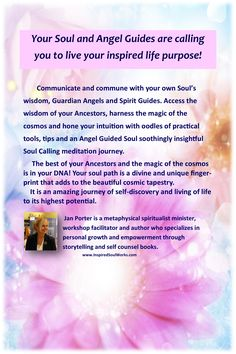 """""""Soul Calling, your angel guided life purpose"""" back cover Angel Guide, Guardian Angels, Spirit Guides, Life Purpose, Live For Yourself, Intuition, Cosmos, Wisdom, Cover"""
