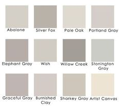 Lavender grays:  Benjamin Moore Abalone  Benjamin Moore Silver Fox  Benjamin Moore Pale Oak  Benjamin Moore Portland Gray  Benjamin Moore Elephant Gray  Benjamin Moore Wish  Benjamin Moore Willow Creek  Benjamin Moore Stonington Gray  Behr Graceful Gray  Behr Burnished Clay  Martha Stewart Sharkey Gray by carmen
