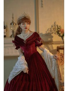 Pretty Outfits, Pretty Dresses, Beautiful Dresses, Cute Outfits, Victorian Fashion, Vintage Fashion, Red Velvet Dress, Royal Clothing, Royal Dresses