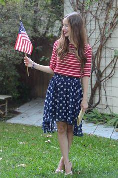 red striped blue polka dots american fashion fashion girly girl brunette flag patriotic american of july july 4 july fourth of july polka dot skirt striped shirt Fourth Of July Shirts, 4th Of July Outfits, Mom Outfits, July 4th, Family Outfits, Simple Outfits, Slider Buns, Blue Polka Dots, Red And White Stripes