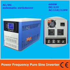 156.07$  Watch now - http://ali4pr.shopchina.info/go.php?t=32232049518 - Power frequency pure sine wave 600W solar inverter DC12V to AC110V220V with charger, LCD, AC by Pass, AVR 156.07$ #buyininternet