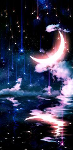 Scenery Wallpaper, Sun Moon Stars, Lovely Eyes, Moon Art, Iphone Wallpapers, Lightning, Backgrounds, Sky, Nature