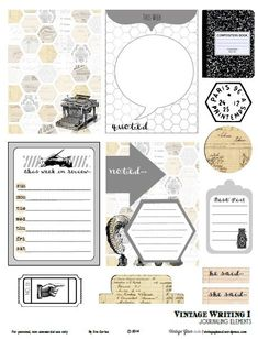 Free Printable Download    Vintage Writing 1 Journaling Elements...This free printable has 12 elements on an 8 1/2″ by 11″ pdf file. The file size is a little hefty at almost 9MB. (857 KB)