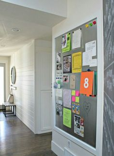 Accomplishment wall - install magnetic sheet and border with moulding (instead of loading up the fridge with school papers,  post cards, etc.)